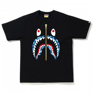 A Bathing Ape Men ABC Camo Shark Tee (black / blue)