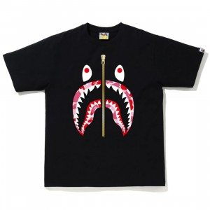 A Bathing Ape Men ABC Camo Shark Tee (black / pink)