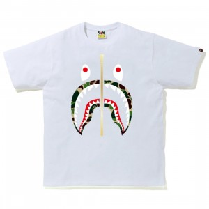 A Bathing Ape Men ABC Camo Shark Tee (white / green)