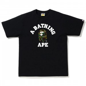 A Bathing Ape Men 1st Camo College Tee (black / green)