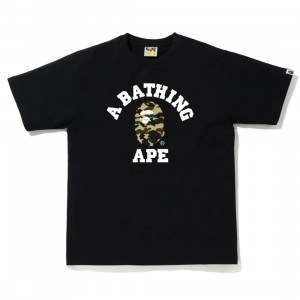 A Bathing Ape Men 1st Camo College Tee (black / yellow)