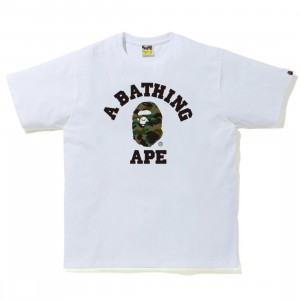 A Bathing Ape Men 1st Camo College Tee (white / green)