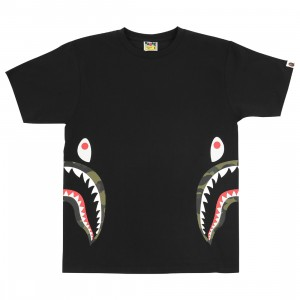 A Bathing Ape Men 1st Camo Side Shark Tee (black / green)