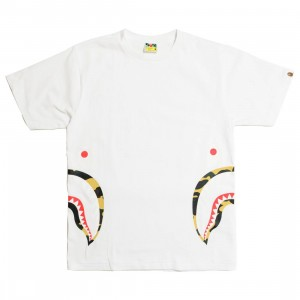A Bathing Ape Men 1st Camo Side Shark Tee (white / yellow)