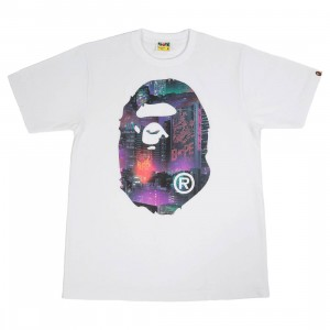A Bathing Ape Men Neon Tokyo Big Ape Head Tee (white)