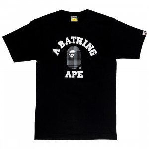 A Bathing Ape Men Bape Check College Tee (black / black)
