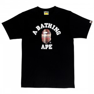 A Bathing Ape Men Bape Check College Tee (black / red)