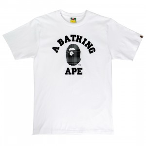 A Bathing Ape Men Bape Check College Tee (white / black)