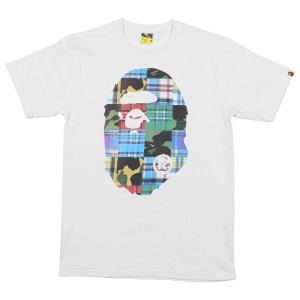 A Bathing Ape Men Patchwork Big Ape Head Tee (white)