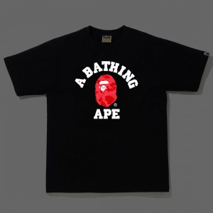 A Bathing Ape Men Reflector Color Camo College Tee (black / red)