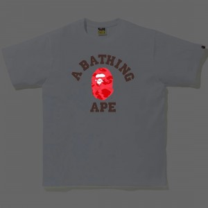 A Bathing Ape Men Reflector Color Camo College Tee (white / red)