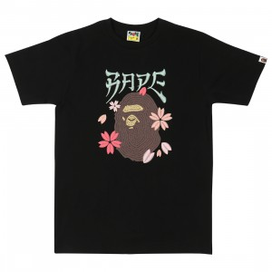 A Bathing Ape Men Embroidery Style Sakura Ape Head Tee (black)