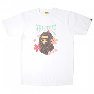A Bathing Ape Men Embroidery Style Sakura Ape Head Tee (white)