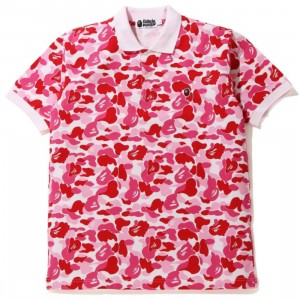 A Bathing Ape Men ABC Camo One Point Polo (pink)