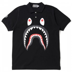 A Bathing Ape Men Shark Polo (black)
