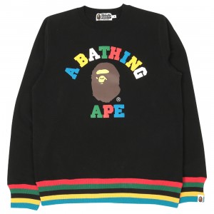 A Bathing Ape Men College Line Rib Crewneck (black)