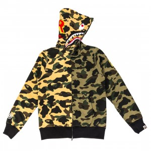A Bathing Ape Men 1st Camo Half Shark Full Zip Hoodie (green / yellow)