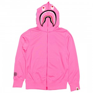 A Bathing Ape Men Neon Shark Full Zip Hoodie (pink)