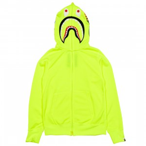 A Bathing Ape Men Neon Shark Full Zip Hoodie (yellow)