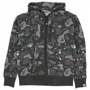 A Bathing Ape Men Relaxed Space Camo Full Zip Hoodie (black)