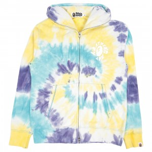 A Bathing Ape Men Tie Dye Wide Full Zip Hoodie (multi)