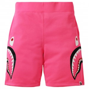 A Bathing Ape Men Neon Shark Sweat Shorts (pink)
