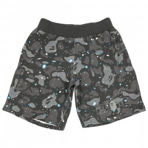 A Bathing Ape Men Space Camo Sweat Wide Shorts (black)