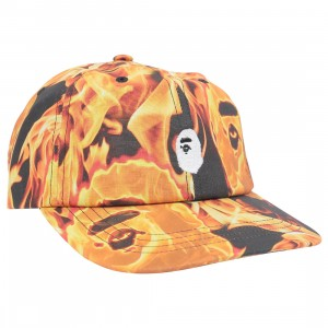 A Bathing Ape Bape Flame Panel Cap (orange)