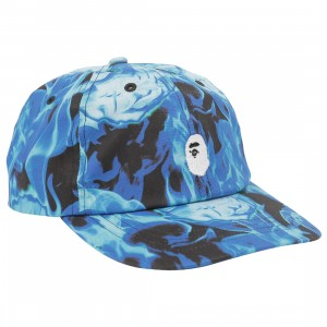 A Bathing Ape Bape Flame Panel Cap (blue / sax)