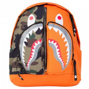 A Bathing Ape 1st Camo Shark Day Pack Backpack (orange)