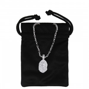 A Bathing Ape Rhinestone Ape Head Necklace (silver)