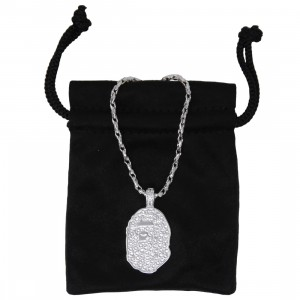 A Bathing Ape Rhinestone Ape Head Large Necklace (silver)