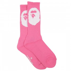 A Bathing Ape Men Big Ape Head Socks (red)