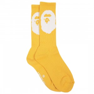 A Bathing Ape Men Big Ape Head Socks (yellow)