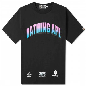 A Bathing Ape Men Gradient College Relaxed Tee (black)