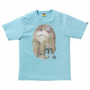 A Bathing Ape Men Social Distance Big Ape Head Tee (blue / sax)