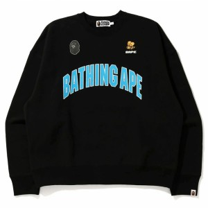 A Bathing Ape Men Busy Works Loose Fit College Crew Neck (black)