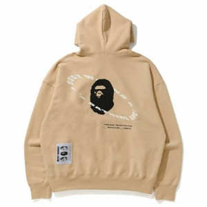 A Bathing Ape Men Universe Ape Loose Fit Pullover Hoodie (beige)