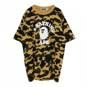 A Bathing Ape Men 1st Camo College Tee (yellow)