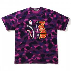 A Bathing Ape Men Color Camo Shark Wide Tee (purple)