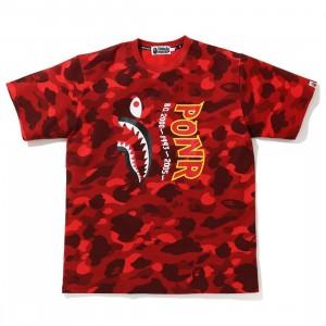 A Bathing Ape Men Color Camo Shark Wide Tee (red)
