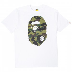 A Bathing Ape Men 1st Camo Big Ape Head RLX Tee (white / green)