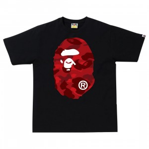 A Bathing Ape Men Color Camo Big Ape Head Tee (black / red)