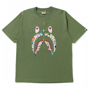 A Bathing Ape Men Multi Camo Shark RLX Tee (olive / olive drab)