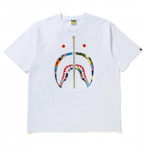 A Bathing Ape Men Multi Camo Shark RLX Tee (white)