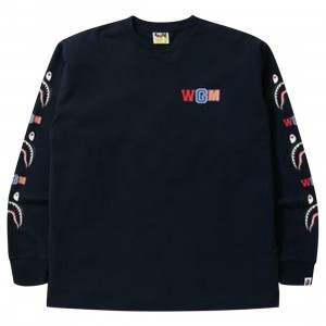 A Bathing Ape Men WGM Shark RLX Long Sleeve Tee (navy)