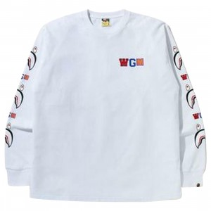 A Bathing Ape Men WGM Shark RLX Long Sleeve Tee (white)