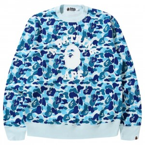 A Bathing Ape Men ABC Camo College Wide Crewneck (blue)