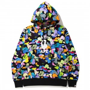 A Bathing Ape Men Multi Camo Pullover Hoodie (black)