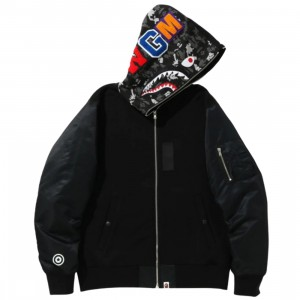 A Bathing Ape Men Digital Camo Military Shark Full Zip Hoodie (black)